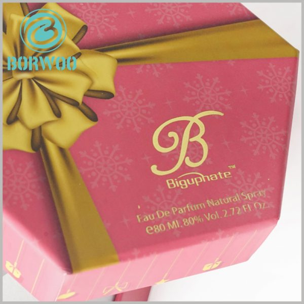 80ml perfume spray bottle packaging boxes. Hexagonal cardboard boxes packaging is very rare for perfume packaging styles, but it is more able to attract customers' attention.