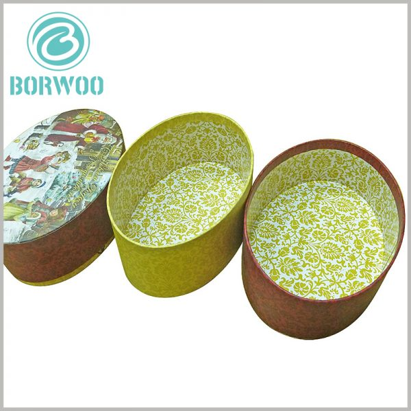Biodegradable oval packaging boxes wholesale. Colorful Christmas gift boxes, printed laminated paper on the inside of the package improve the visual experience inside the package.