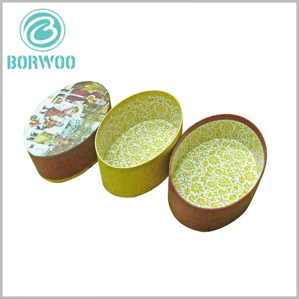 Biodegradable oval packaging boxes. The packaging is used for Christmas gift boxes. Small ornaments, snacks and other gifts can be placed inside the packaging.