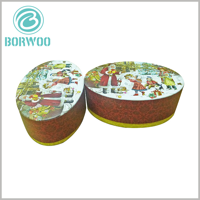 Biodegradable oval packaging for christmas gift boxes. The patterns and text messages of the customized gift boxes are all printed in the form of bronzing