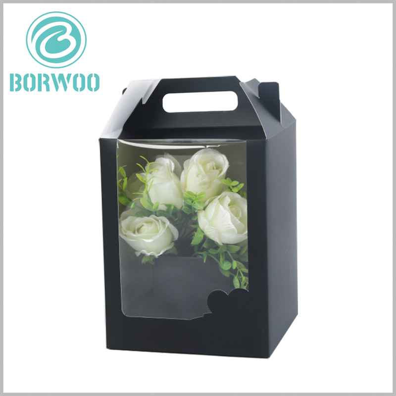Black Gable box with windows for flower packaging. Window packaging has a good display effect for flowers, and can improve the attractiveness and competitive advantage of flowers.