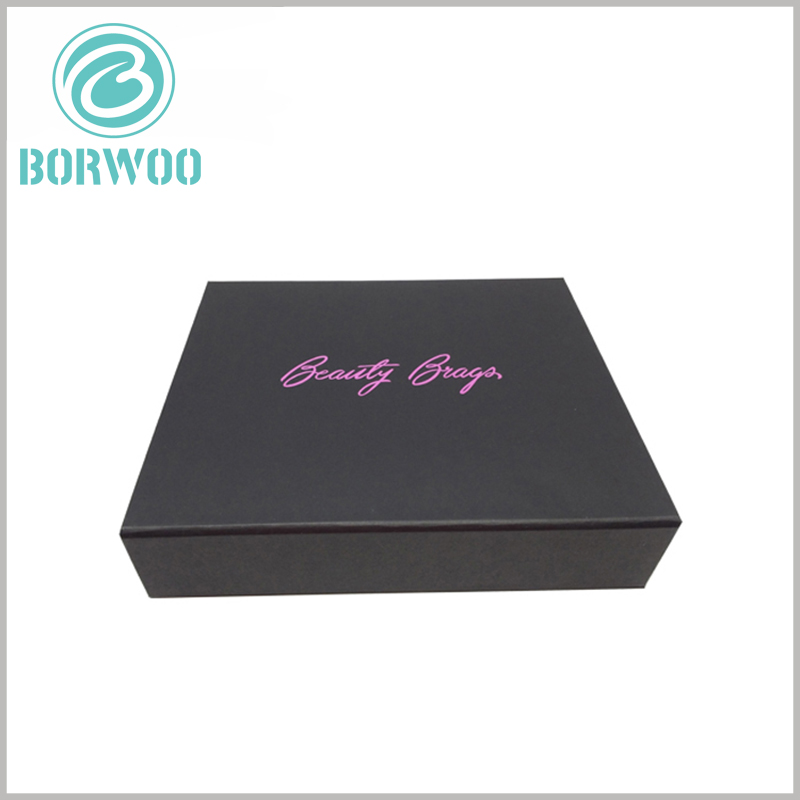 Black cardboard cosmetic packaging with logo. Brand logo or name is one of the most important assets of a product, and customized packaging can increase the selling price and potential value of the product.