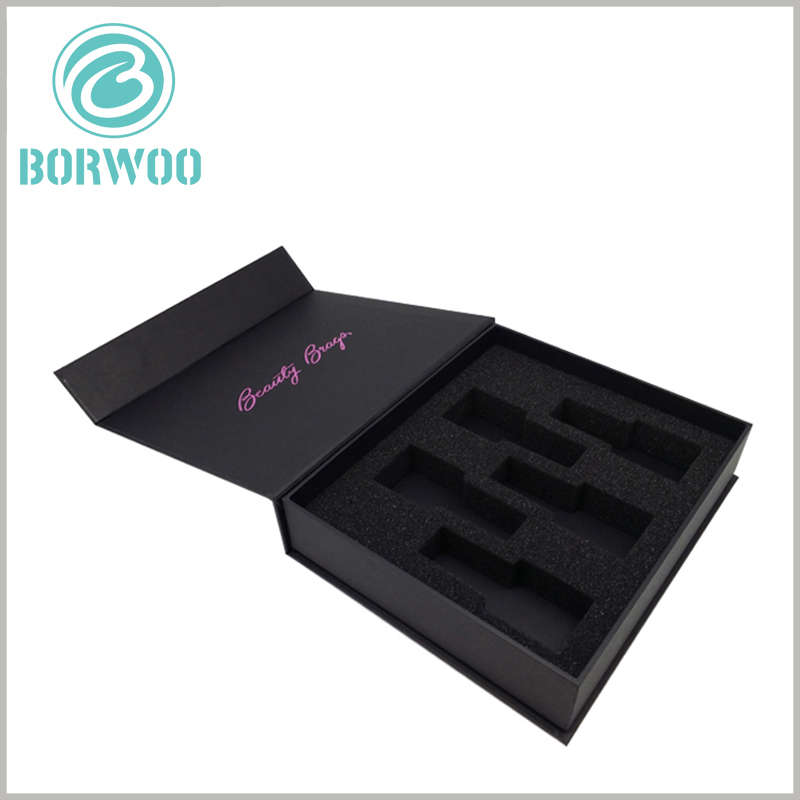 Black cardboard nail polish packaging for 5 bottles. Cardboard cosmetic packaging can be customized, and the packaging accessories and printed content are customized according to the product.