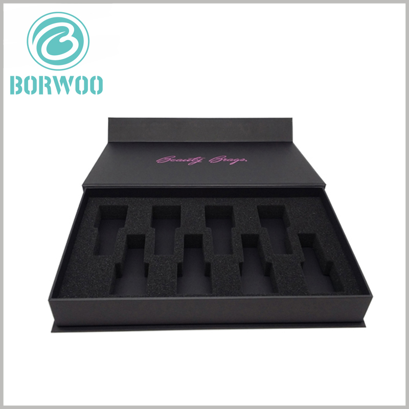 Black cardboard nail polish packaging for 7 bottles. The nail polish packaging can be customized in size and EVA style, which will allow the sale of different quantities of nail polish, such as 3 bottles of nail polish set, 5 bottles of nail polish set, or more.