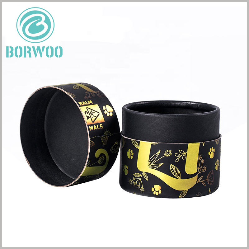 Black cardboard tube for essential oil packaging. The top cover of cardboard round boxes is the easiest for customers to pay attention to, so the brand name and main pattern are printed on the top of the cylinder packaging.