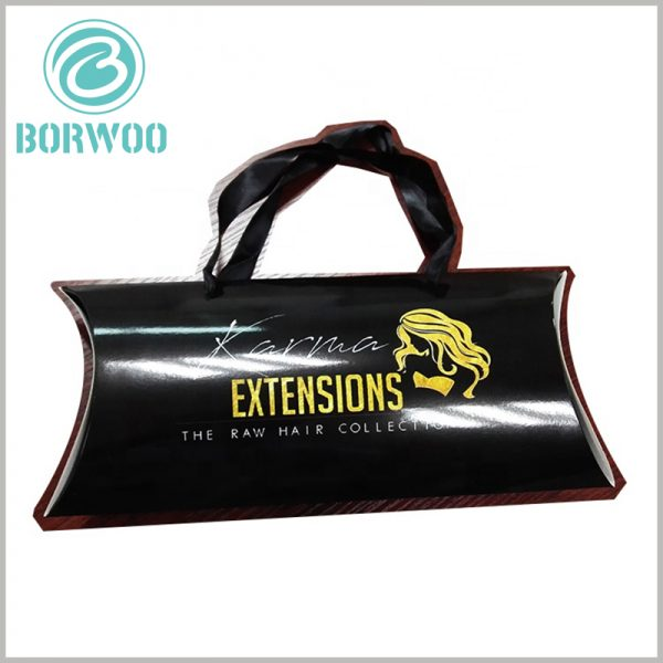 Black hair extensions packaging boxes wholesale. Customizable folding pillow boxes packaging, capable of bronzing printing related content and patterns.