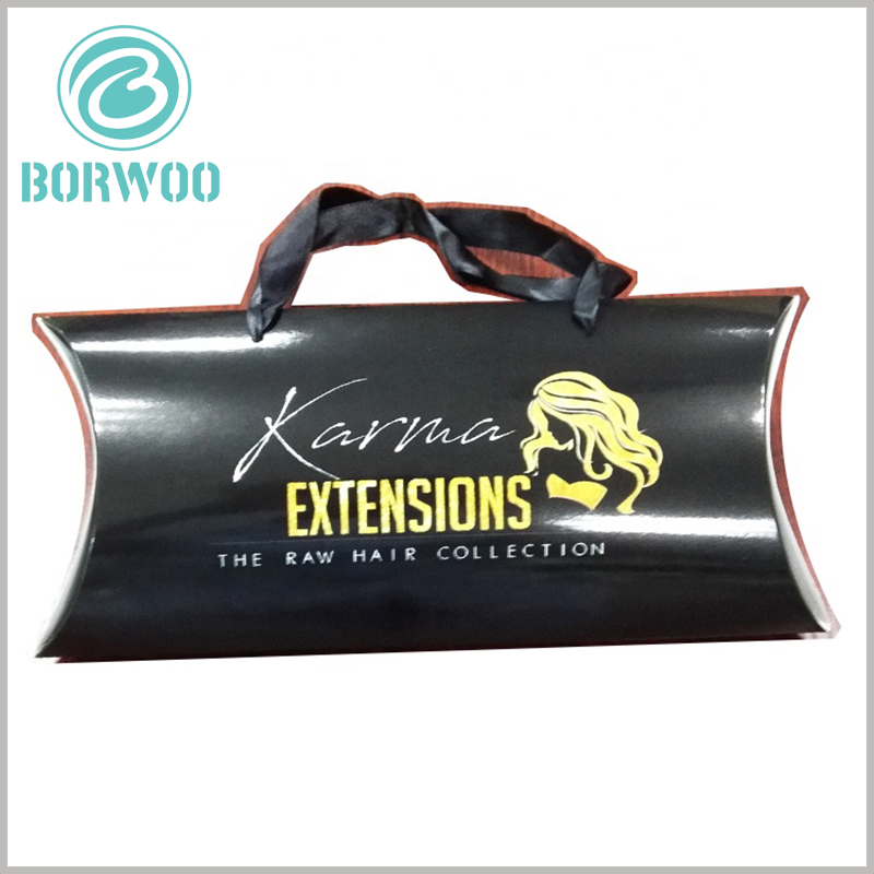 Black hair extensions packaging boxes. Black pillow boxes wholesale can print specific content to increase the recognition of packaging and products.