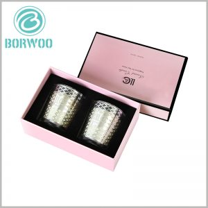 Cardboard candle boxes packaging for 2 jars. There is a flocking cloth EVA inside the candle package, which can fix the candle jar, even if the package is shaken, the candle will not move.