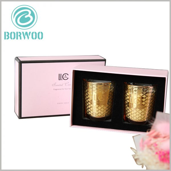Hard Cardboard candle boxes packaging for 2 jars. Custom packaging can hold multiple cans of candles, allowing candles to be sold as gift sets.