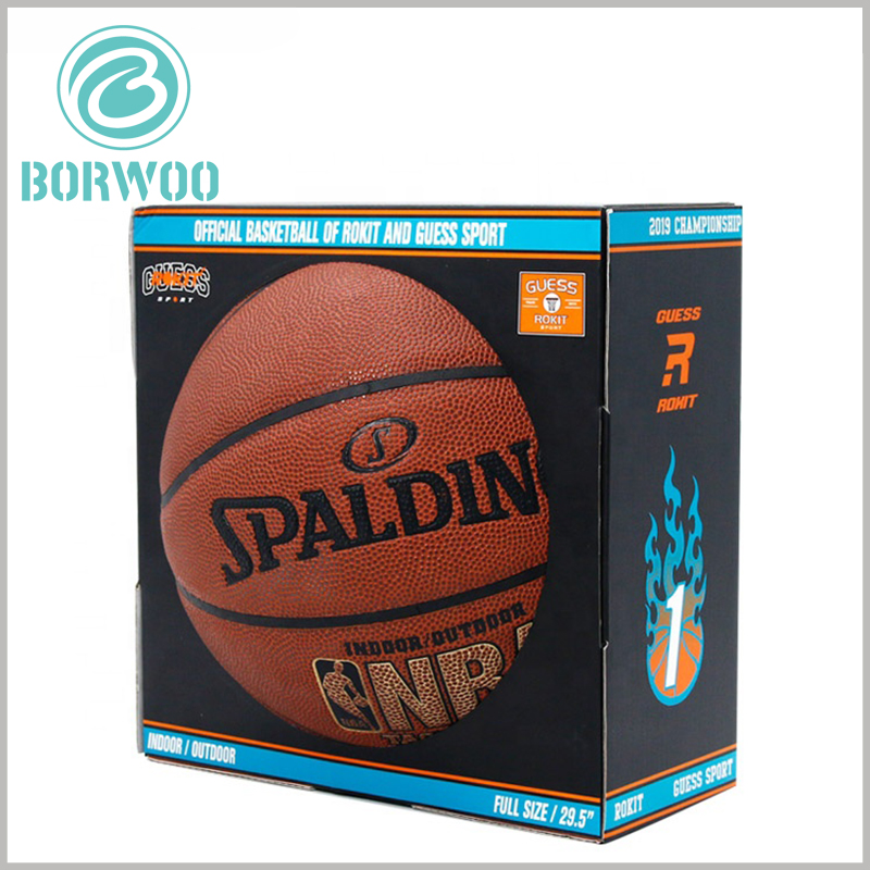 Cheap corrugated packaging for basketball. Most of the basketball is exposed to the outside of the packaging, which can improve customers' awareness and sense of reality about the product.