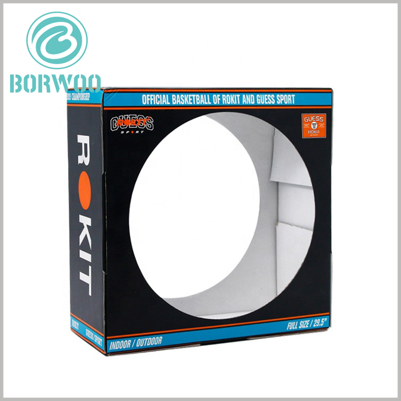 Cheap corrugated packaging with window. The sports packaging has circular (customizable diameter) hollows on both sides, which is one of the best ways to display basketball products.