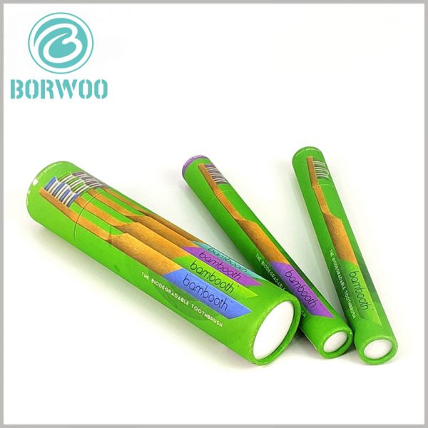 Colored cardboard tube for toothbrush packaging. Customized packaging has unique printed content to increase the attractiveness of the packaging.