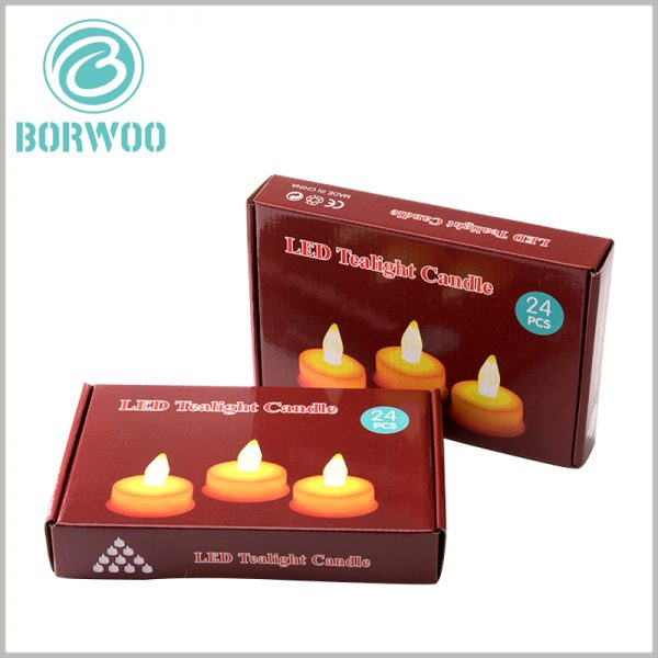 Corrugated packaging for led tealight candles boxes. The custom-made corrugated paper packaging design is unique, and customers can judge the product characteristics the moment they see the candle packaging.