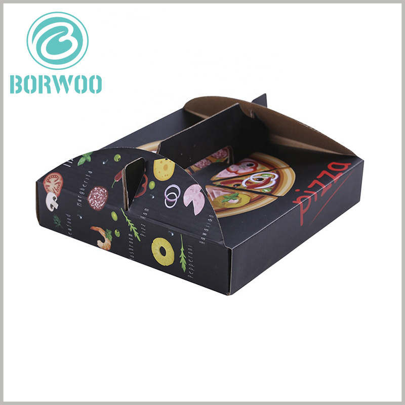 Corrugated pizza box with handle. The handle part and the corrugated paper packaging are connected as a whole, the packaging is strong and durable, and there is no need to worry about the packaging being damaged when the product is carried.