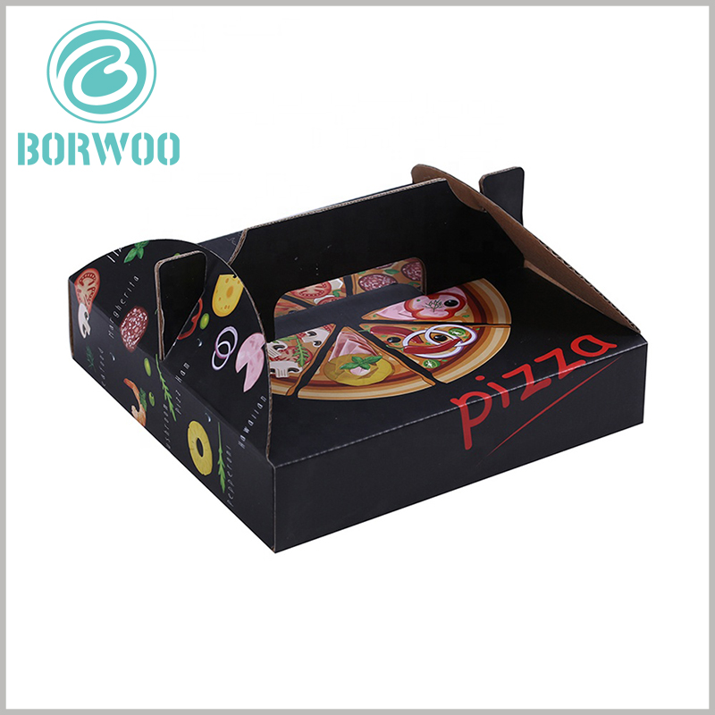 Corrugated pizza boxes with handles. The customized pizza packaging has creative patterns that can increase the attractiveness of the packaging and the allure of food.