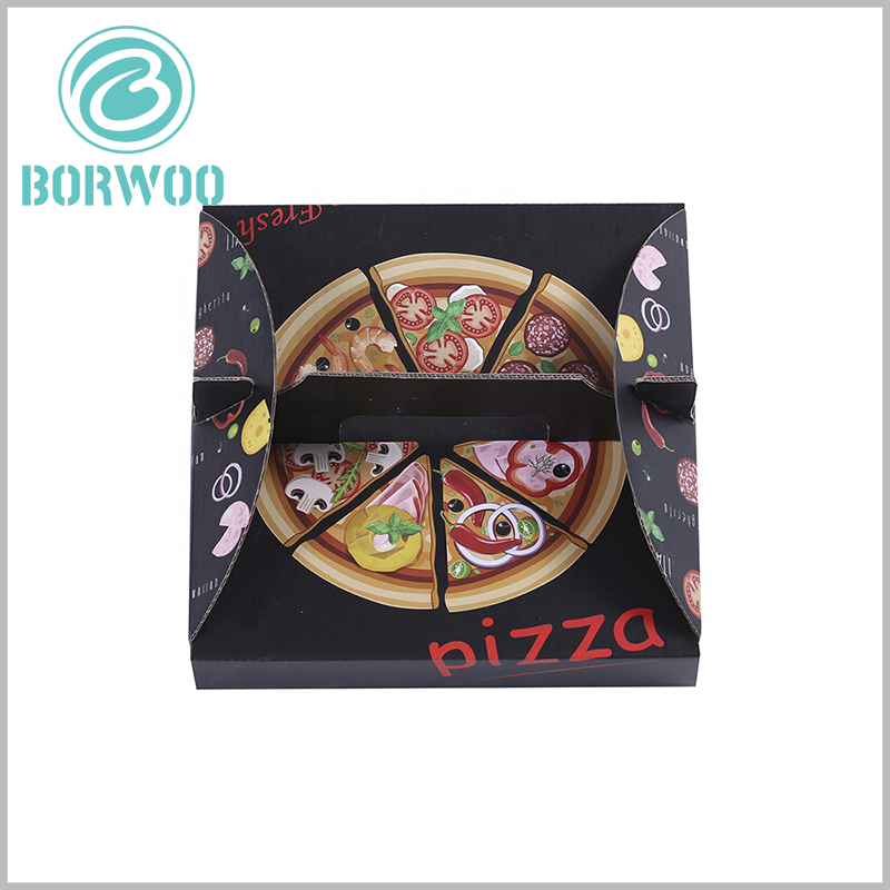 Creative Corrugated pizza boxes with handles. The custom packaging design uses food patterns as the main element, which enhances the appeal and temptation of pizza boxes.