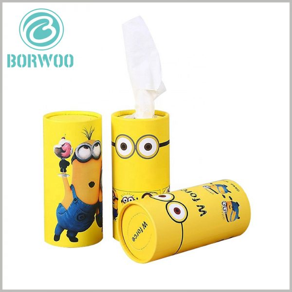 Creative cardboard tube for Paper towel packaging.As the main element of the packaging design, the small yellow people make it easier to attract customers' attention by using familiar things.