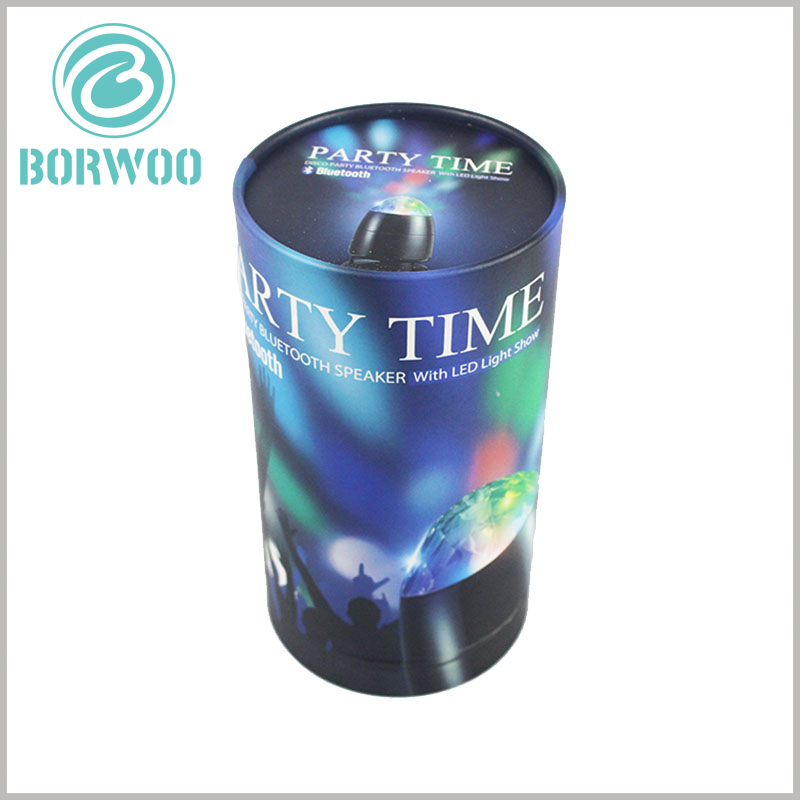 Creative cylinder packaging LED rotating light. Electronic product packaging has the characteristics of sturdiness, durability, and strong pressure resistance, which can protect the products inside the packaging.