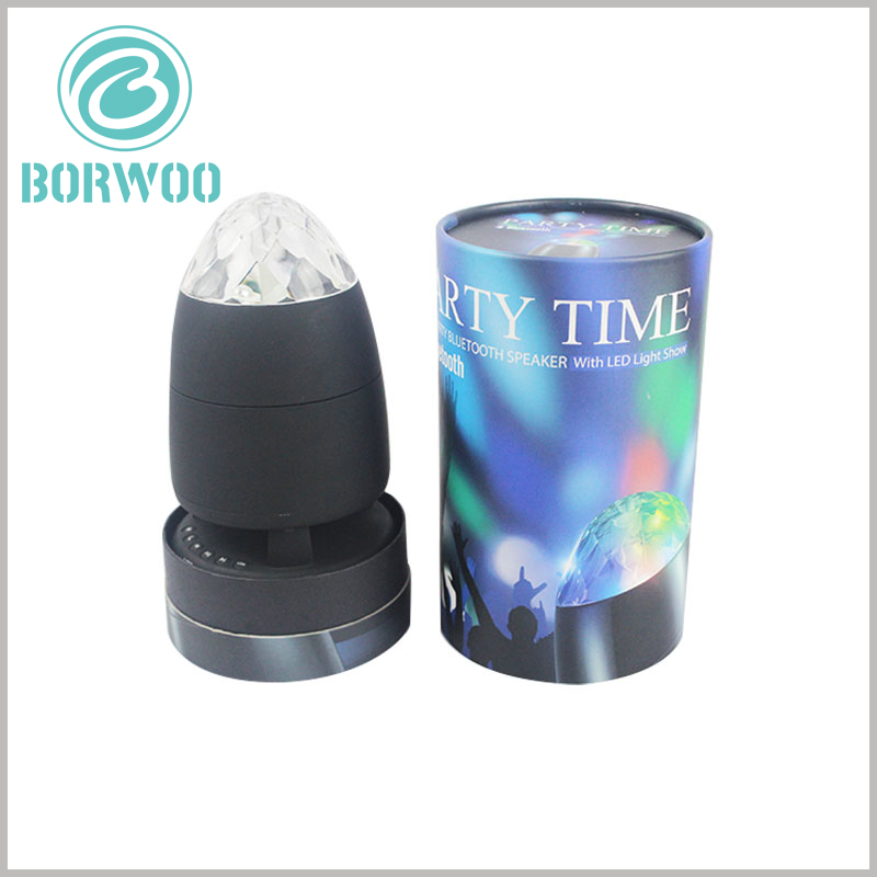 Creative cylinder packaging for LED rotating light. The base of the customized tube packaging closely matches the product, and can play a role in fixing the LED light and maintain the stability of the product.