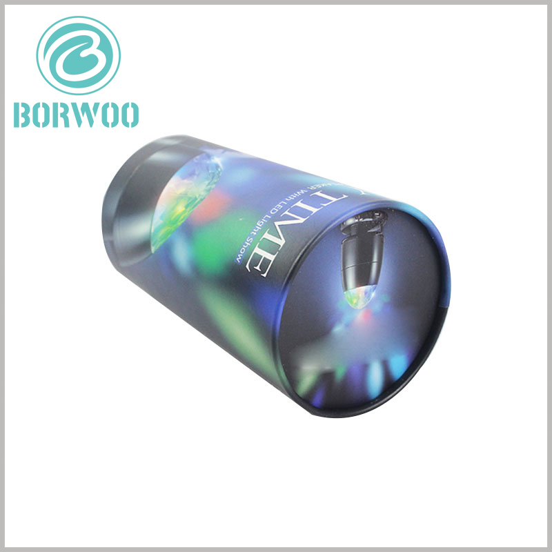 Creative design cylinder packaging for LED rotating light. The packaging design of LED revolving light is based on color schemes and scene use, so customers can quickly judge the product characteristics.