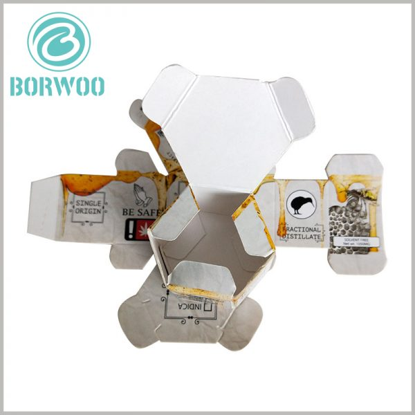 Creative hexagonal food packaging boxes wholesale. Honey packaging adopts hexagonal packaging, which is easy to fold or unfold, and the packaging manufacturing cost is low.