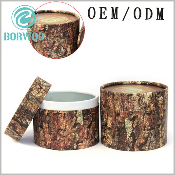 """Creative imitation wood cardboard tube packaging custom. The visual appearance of """"cylindrical wooden pillars"""", but because the packaging is entirely made of paper materials, the tube packaging is light and inexpensive to manufacture"""