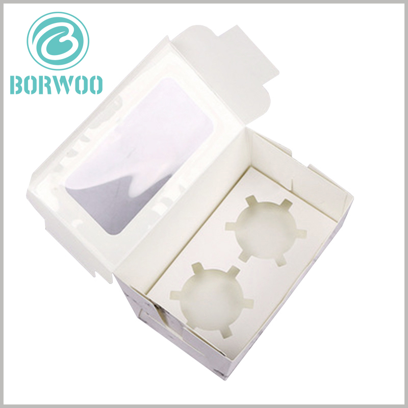"""Creative mini cupcake boxes with """"white marbled road"""". The flapper of the cupcake packaging can hold 2 cupcakes, and the internal paper jam is cheap."""