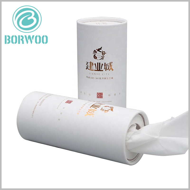 Creative whaite cardboard tube for Paper towel packaging.The paper towel is taken out from the top of the paper tube cover and used, which is very convenient for using the product.