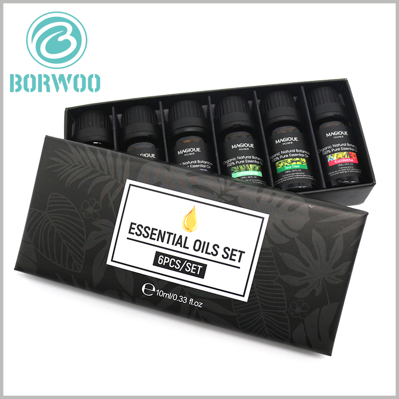 Custom Essential oil packaging for lot of 6 bottles of 10 ml. Artistic design makes packaging and products attractive, and allows customers to understand the quantity and capacity of essential oils the fastest.