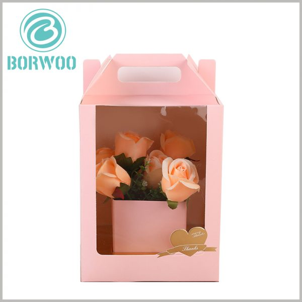 Custom Gable box with windows for flower packaging. The flower packaging box is printed by CMYK, which can have different packaging backgrounds and patterns, and can be distinguished from other products.