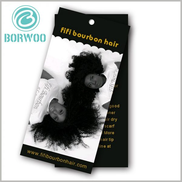 Custom Hair extension hang tags wholesale.The style of printing the wig on the front of the hair extension tag is the most common form, and the publicity effect is very good