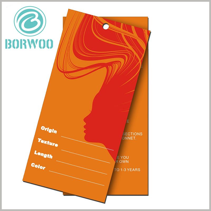 Custom Hair extension hang tags.Orange packaging theme, custom pattern design and style, can enhance the attractiveness of the tag.