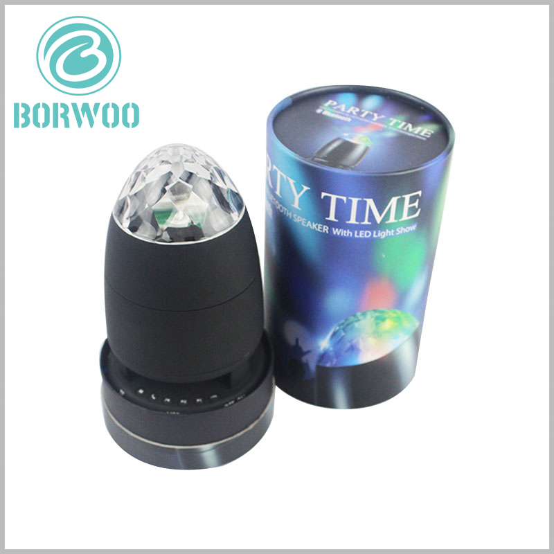 Custom cylinder packaging for LED rotating light. The custom cardboard tube packaging has unique printed content to promote specific products and brands.