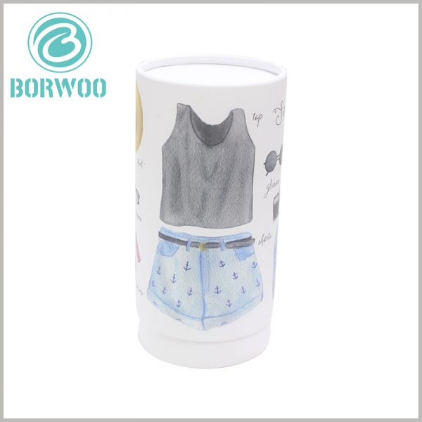 Custom paper tube for women's clothing packaging boxes. For female customers, it is more attractive to have pictures of women's clothing on the packaging design.