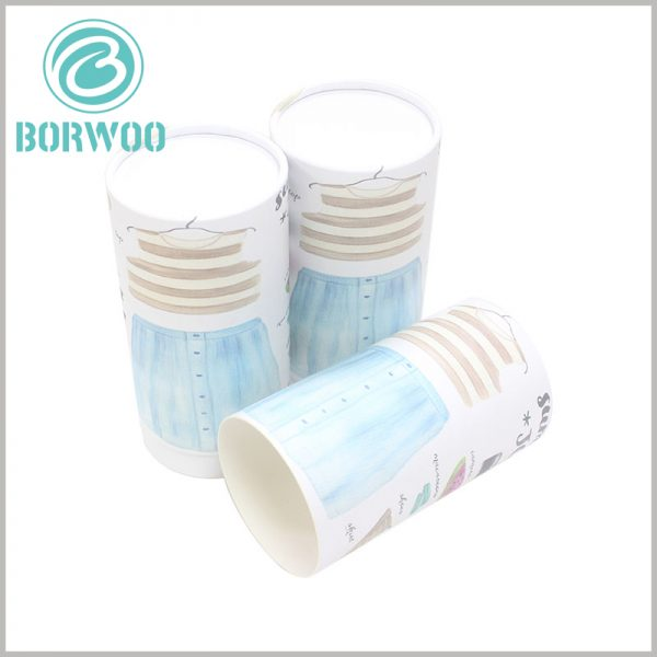 Custom paper tube for women's clothing packaging. The white paper tube uses creative packaging design to make the product packaging more attractive.