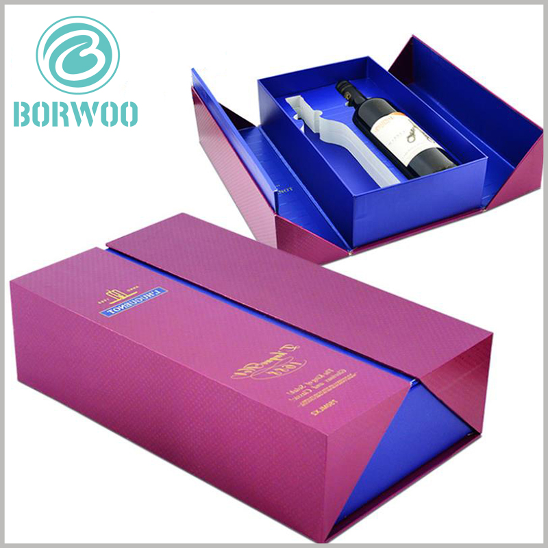Double open gift packaging for wine bottles. Wine packaging has a unique way of opening, which can improve the packaging experience.