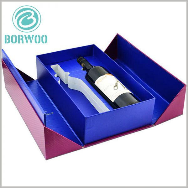 Double open gift packaging for wine of two bottles. There is an EVA plug-in inside the wine packaging, which can fix the wine bottle and fully protect the product.