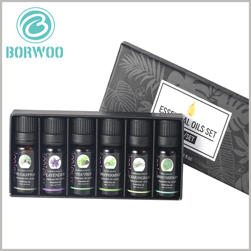 Essential oil packaging for lot of 6 bottles. The wholesale of essential oil boxes with custom printed content plays an active role in product promotion and brand building.