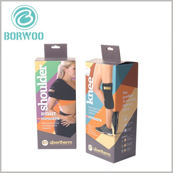 Foldable corrugated packaging for sports brace. Customers will quickly make purchase decisions when they understand product differentiation and usage methods; printed sports packaging will be able to detail product features and functions.