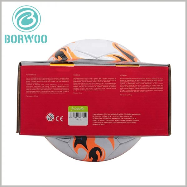 Football packaging boxes with logo wholesale. The detailed product description is displayed to customers in the form of text printing, which will enable customers to quickly learn more product information.