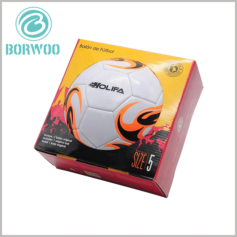 Football packaging boxes with printing wholesale. Customized corrugated packaging design can be one of the competitive advantages of football to increase product attractiveness.