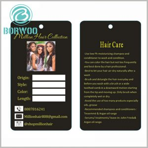 Hair extension hang tags custom.The customized black tag has a unique design and plays a unique role in brand building.