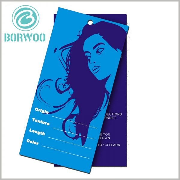 Hair extension hang tags wholesale.The style of the wig is printed on the tag in the form of a card, which is very attractive to customers.
