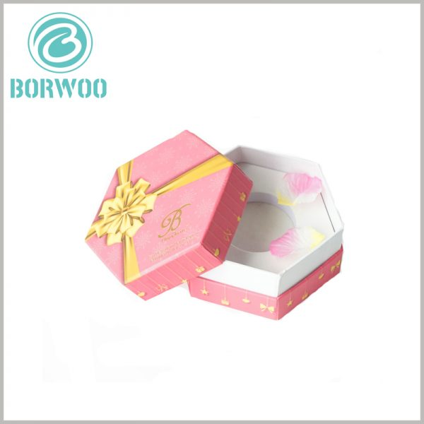 Hexagonal packaging for perfume bottle. The thick white EVA is used as an insert inside the perfume gift boxes to fix the perfume glass bottle to avoid shaking and damage.