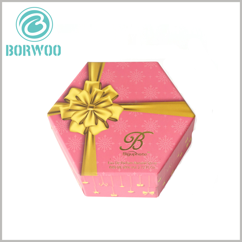 Hexagonal packaging for perfume spray bottle. The most important printed content of customized perfume boxes packaging is brand information, which will increase customer trust and product value