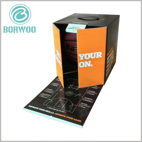 High-end Basketball Packaging boxes custom. A plastic handle is set on the top of the basketball packaging to make it easier to carry the packaging and products.