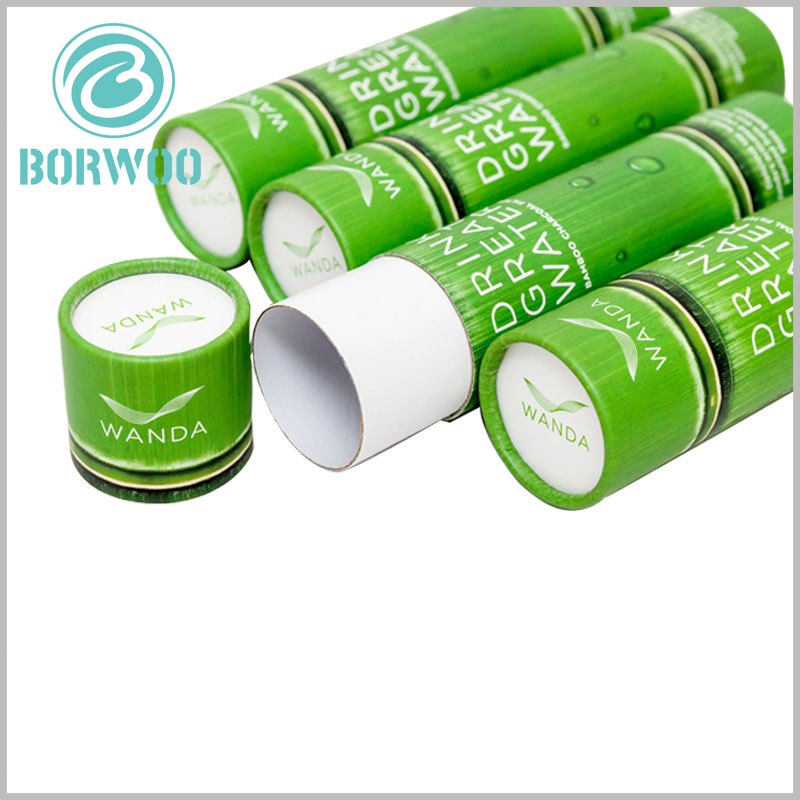 Imitation bamboo paper tube packaging boxes. The paper tube is made of 350gsm cardboard as the raw material, and gray can be found at the cut of the paper tube.