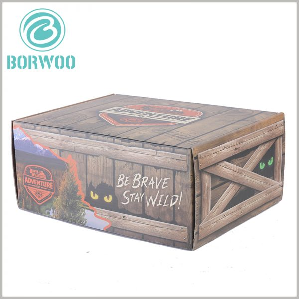 Imitation wood corrugated packaging boxes custom. Printing product names and brand names on creative packaging is an effective way to quickly spread the brand and products