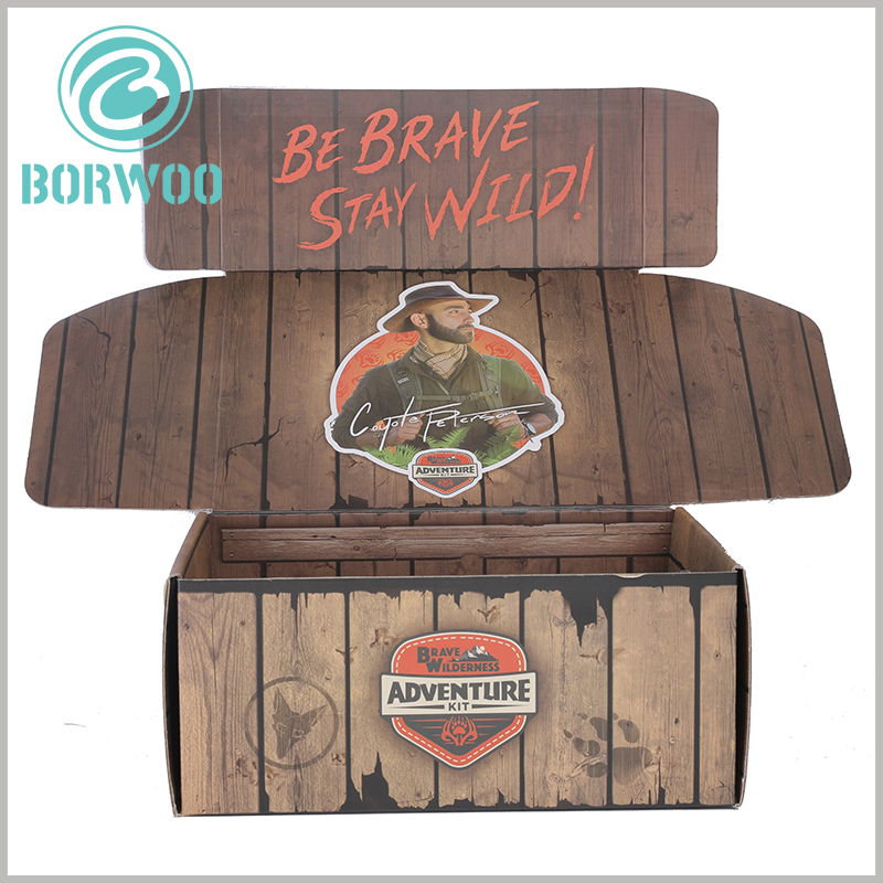 Imitation wood corrugated packaging boxes wholesale. Even ordinary CMYK printing, but creative design can make packaging attractive.