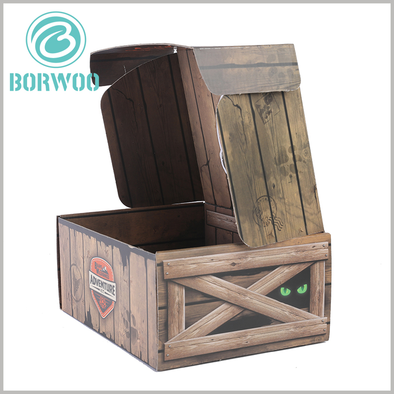 Imitation wood corrugated packaging boxes with ideas. The customized square box can be printed with unique content and enhance the attractiveness of the packaging.